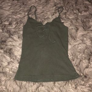Cotton On Army Green Lace Up crop tank Top